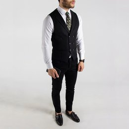 mens double breasted summer suits NZ - Black Wedding Groom Tuxedos Summer Handsome Double Breasted Vest Suits Prom Party Mens Formal Wear(Vest+Pants)