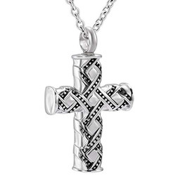 fancy crosses wholesale Australia - Religious Cremation Urn Necklace Fancy Cross Pendant For Men Ashes Holder Jewelry Mom Gifts