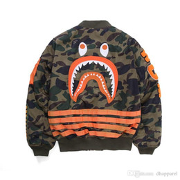China New Arrival Teenager Personality Camo Polyester Hip Hop Jacket Lover's Casual Shark Print Baseball Uniform Jacket Free Shipping supplier sharks uniforms suppliers