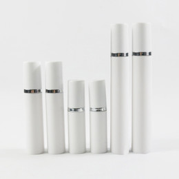 White airless pump online shopping - 24 x ml ml ml Sliver Line Airless Vacuum Pump Lotion Bottle With White Cap Cosmetic Containers Plastic Lotion Bottles