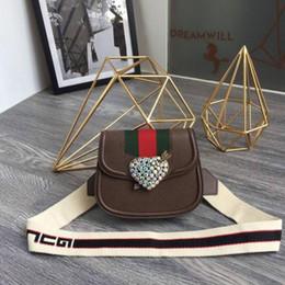 Acrylic Hearts Beads Australia - New Diamond Heart Saddle Bag Shoulder Crossbody Bag 500756 Brown REAL LEATHER ICONIC BAGS SHOULDER BAG TOTES BUSINESS MESSENGER BAGS