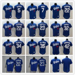 3143fb496 MLB Men s Los Angeles Dodgers 22 Clayton Kershaw 42 Jackie Robinson 5 Corey  Seager 23 Adrian Gonzalez Baseball Jersey Flex Base Jerseys