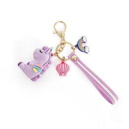 $enCountryForm.capitalKeyWord Australia - Trendy Cute Fairytale PVC Rainbow Unicorn Keychain Multi-style Horse Shell Key Holder Silicone Key Ring For Woman Girls Gift