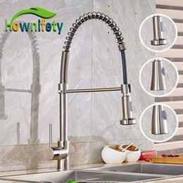 Kitchen Faucet Nickel Australia - Brushed Nickel Solid Brass Kitchen Sink Faucet Spring Mixer Tap Single Handle 2 Fuctions Water Out