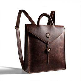 Back Packs For Men Australia - Trends Men Business Backpack Pu Leather Bag For College Laptop Rucksack Simple Design Man Back Bag Brown Black Women Back Pack