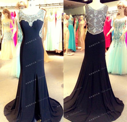 Prom Dress Chiffon Slit Crystal Australia - Elegant Backless Crystal Beaded Mermaid Evening Dresses Sheer Neck Chiffon High Slit Real Photos Plus Size 2019 Sexy Formal Prom Party Gowns