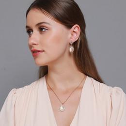 Wholesale south korean accessories resale online - 10Sets Korean Opal Sunflower Earrings Set Zircon Ellipse Earrings Necklace For Women Ladies Retro Jewelry Sets Gold Accessories
