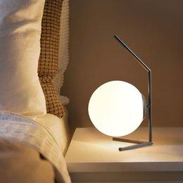 $enCountryForm.capitalKeyWord Australia - Modern Table Lamp Desk Light Shade White Glass Ball Table Lamp for Bedroom Living Room Floor Bedside Black support rod