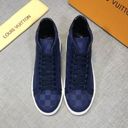 plaid design NZ - Free shipping new style high-end luxury men's casual shoes fashion design brand platform high-top men's shoes classic plaid pattern JNSDR