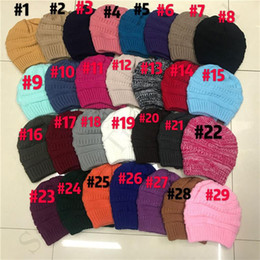 ClassiC CroChet hat online shopping - Trendy Knitted Ponytail Hat Women Brand Design Beanie Hat Outdoor Elastic Hole Crochet Wool Hats Label Winter Warm Ski Caps C91806