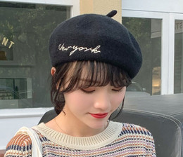 boys berets plaid hats NZ - Beret wool pure color women autumn and winter Korean version of Japan is versatile embroidery letters winter painter hat