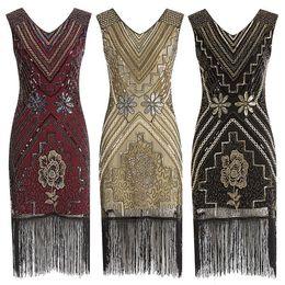 Wholesale flapper dresses 1920s for sale - Group buy 2019 New Fashion Sexy Women Vintage s Flapper Dress Costume V Neck Dress Fringed Bandage Sequin Tassel Dress For Female