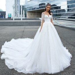 basque princess wedding dresses Australia - Sexy Sweetheart Illusion Lace Princess Wedding Dresses 2019 Long Sleeve Bride Dresses Cathedral Train Wedding Gowns Vestidos De Novia