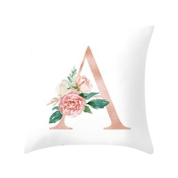 $enCountryForm.capitalKeyWord NZ - 45x45cm Gold A-Z Unique writing style Characters Cushion Cover White Theme Throw Pillow Cover Rectangular Housse Coussin Pillow Case
