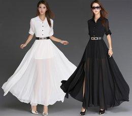 White Chiffon Maxi Summer Dresses Australia - Sexy Summer Plus Size Women Turndown Collar Chiffon Split Maxi Dress Floor-Length Long Dress Beach Party Dresses With Belt