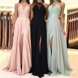 $enCountryForm.capitalKeyWord Australia - Chiffon Bridesmaid Dresses Cheap Halter Neck Illusion Lace Applique Draped Side Split Pleats Formal Wedding Guest Gown Cheap Prom Dress