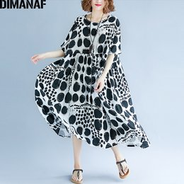 Wholesale ladies plus size linen clothing for sale – plus size DIMANAF Women Summer Dress Plus Size Femme Large Vestidos Clothing Print Dot Black Elegant Lady Casual Loose Linen Long Dresses
