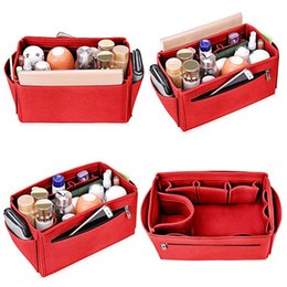 Wholesale Womens Cosmetic Bags Australia - Popular Womens Makeup Organizer Felt Cloth Insert Bag For Handbag Multifunctional Women Cosmetic Bags Makeup Bag for Ladies Travel Organizer