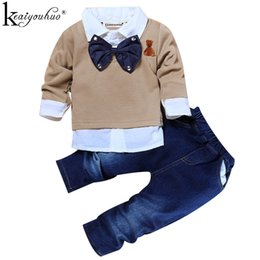 Toddler Christmas Boy Australia - Toddler Boys Clothes Christmas Outfits Kids Clothes Winter Boys Gentleman Suits Children Clothing Sets T-shirt+Jeans Sport