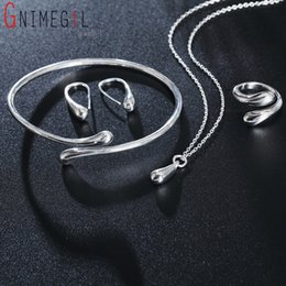 Necklace Stamps Australia - Big Promotion S222 Silver Color Water Drop Bridal Jewelry Sets Ring+Necklace Bangle+Earrings Women 925 Stamped Jewellry