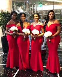 $enCountryForm.capitalKeyWord Australia - 2018 Elegant Off The Shoulder Bridesmaid Dresses Mermaid Red Satin South Africa Style Maid Of Honor Wedding Guest Gown Custom Made Hot Sale