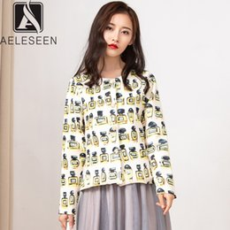 high waisted shorts pattern Australia - AELESEEN 2019 Autumn New Arrival Casual Short Jacket Women High Street Bottle Print Single Breasted Botton Top With Pocket