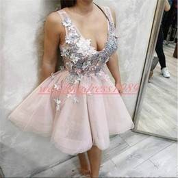 b0fb00646ed Romantic Floral Lace V-Neck Short Homecoming Dresses Flower Knee Length  Cheap A-Line Short Prom Dress Juniors Cocktail Party Club Wear