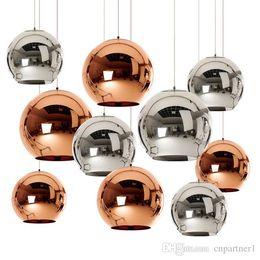 Wholesale Copper Kitchen Australia - Modern Dixon Mirror Glass Ball Pendant Light Copper Silver Gold Globe Loft Hanglamp E27 Lamp Kitchen Light Living Room Fixture