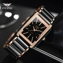 Discount luxury ceramic mens square watches - Luxury Ceramic square watches for mens couple clocks black men's quartz wristwatches waterproof man relojes
