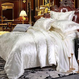 rice cover NZ - Dropshipping Wedding Luxury Bedding Sets Jacquard Queen King Size Duvet Cover Set wedding Bedclothes Bed Linen Rice white