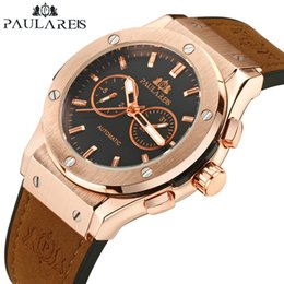 Mechanical Men Watch Sport NZ - Men Automatic Self Wind Mechanical Rose Gold Silver Black Case Brown Leather Rubber Strap Casual Sports Geneve Watch J190615