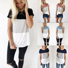 wholesale neck strips NZ - T-shirts Women Tops Summer Stripped T Shirt Women Short Sleeve Crew Neck Bandage TShirt Loose Tee Plus Size