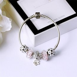 DiamonD party stranDs online shopping - Glamour pink finished beaded bracelet for Pandora sterling silver with CZ diamond high quality high end ladies beaded bracelet with box
