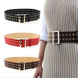 71da8f17cb5b9 New 6.2 CM Wide 2 Row Groment Belt Women Double Pin Buckle Corset Belt For  Autumn Coat Pu Leather Waistband Black White