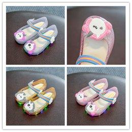 Kids Gold Sandals Australia - Unicorn Cartoon LED Sandals Melissa Luminous Flashing Jelly Candy Color Sandals Princess Girls Slippers Shoes Soft PU Sole Kids Shoes A51303