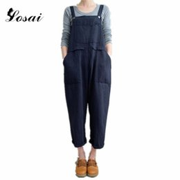 brown linen pants women NZ - Plus Size 5XL Summer Women Strappy Pockets Jumpsuit Casual Solid Dungarees Long Jumpsuits Loose Overalls Rompers Pants Bodysuit