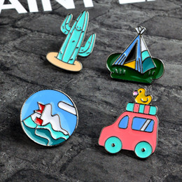 Discount man tents - Camping Scenery Cactus tent Car Brooch Pins Lapel Pins Badge Fashion Jewelry for Women Men Kids Christmas Gift Drop Ship