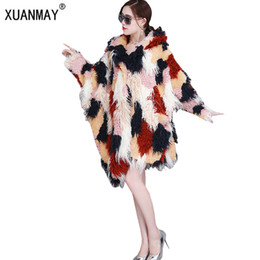 Warm Cloak Coat NZ - Winter New high-quality female imitation long wool fur coat thicker warm fashion with cap large yards irregular cloak fur coat