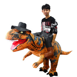 Ride Fancy Dress Australia - Adult Ride on Trex Dinosaur inflatable Costume Jurassic World T-Rex Fancy Dress Halloween suit Brown Party mascot CostumeR