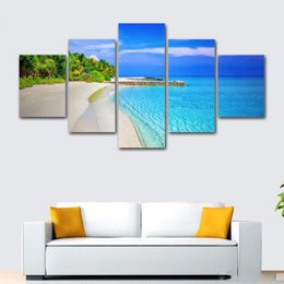 $enCountryForm.capitalKeyWord Australia - 5 Pcs Seascape Long Beach Wave HD Printed Canvas Prints Painting Wall Pictures For Living Room Wall Art No Frame