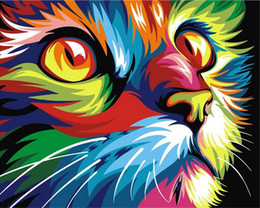 Pink Decorative Paintings Australia - 40x50cm calligraphy by number paint acrylic decorative painting canvas colorful cat