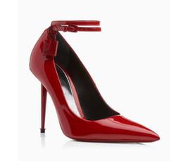 $enCountryForm.capitalKeyWord Australia - Fashion Design Lock Snake Prints Pumps Sexy Pointed Toe Ankle Strap Thin High Heels Dress Party Strip Shoes Women Zapatos 2019