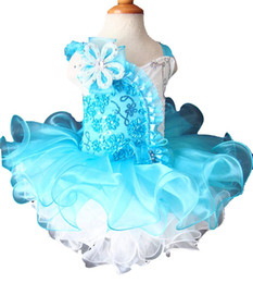 blue toddler UK - White Blue Toddler Pageant Dresses Flower Cupcake Kids Gowns Crystal Beaded Little Girls Formal Wear Sequined Birthday Party Dress