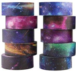 Ingrosso Commercio all'ingrosso 10 pz Washi nastri set nastro adesivo adesivi di carta adesiva artigianato fai da te scrapbooking decorazione 15mm x 7 m, cielo stellato modelli 2016