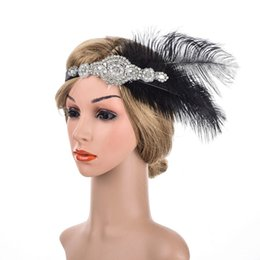wholesale headbands feathers UK - Bridal Feather Headband with Silver Rhinestone & Ivory Pear Black Feather & Silver Beaded Charcoal Rhinestone Golden Sparkle Elastic Flapper