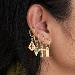 $enCountryForm.capitalKeyWord Australia - Fashion Geometric Statement Earrings Dangle Drop Rhinestone Ear Studs Cross Rhombus Square Hanging Pendant Charm Jewelry For Women Girls