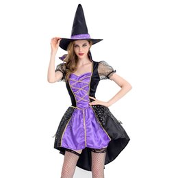 $enCountryForm.capitalKeyWord NZ - Free Shipping Sexy Adult Witch Costumes Women Tailcoat Dress Purple Swallowtail Clothes for Halloween   Xmas Party Coser