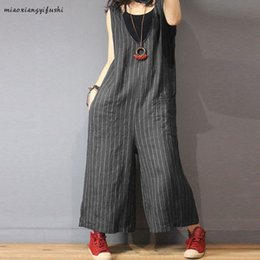 $enCountryForm.capitalKeyWord Australia - Womail Fashion Overalls For Woman Jumpsuit Summer Striped Print Casual Cotton And Iinen Long Jumpsuit Loose Plus Size Jun08