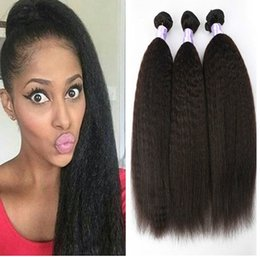 mongolian afro kinky straight hair weave 2019 - 3 Bundles Virgin Brazilian Yaki Straight Kinky Straight Hair Cheap Afro Kinky Human Hair Weave 8-30inch cheap mongolian