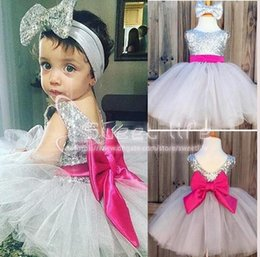 Fuschia lace online shopping - Baby Infant Toddler Birthday Party Dresses Silver Sequins Fuschia Bow Lace Crew Neck Short Tulle Tutu Wedding Flower Girl Dresses